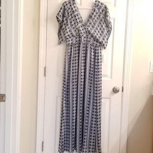 Charming Charlie blue white maxi dress size L